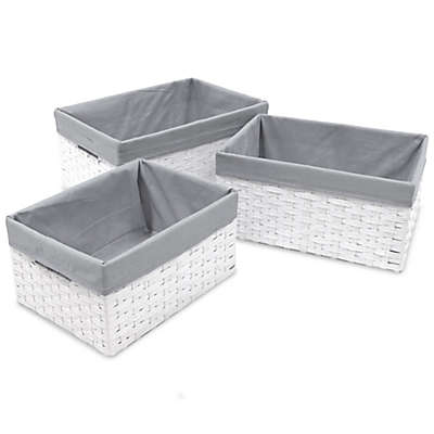 Redmon 3-Piece Basket Storage Set with Grey Liners in White