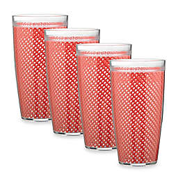 Kraftware™ Fishnet 4-Piece Doublewalled Plastic Highball Glasses in Flag Red