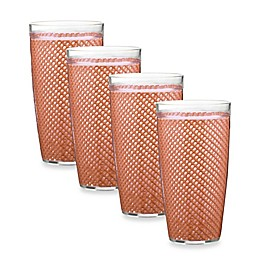 Kraftware™ Fishnet 4-Piece Doublewalled Plastic Highball Glasses in Orchid