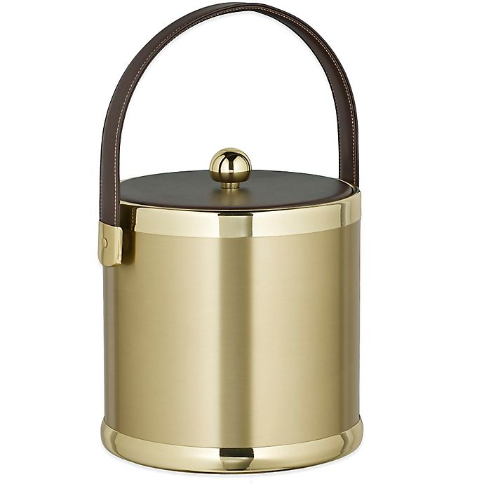 Alternate image 1 for Kraftware™ Americano Brushed Brass 3 qt. Ice Bucket with Leatherette Lid