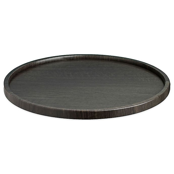 Alternate image 1 for Kraftware™ Woodcraft Ebony Round Vinyl Serving Tray in Black