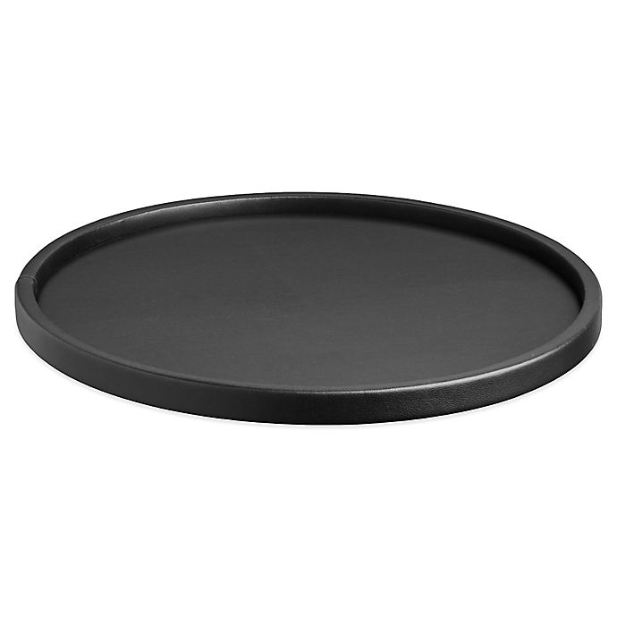 Contempo Round Vinyl Serving Tray In, Black Coffee Table Tray Round