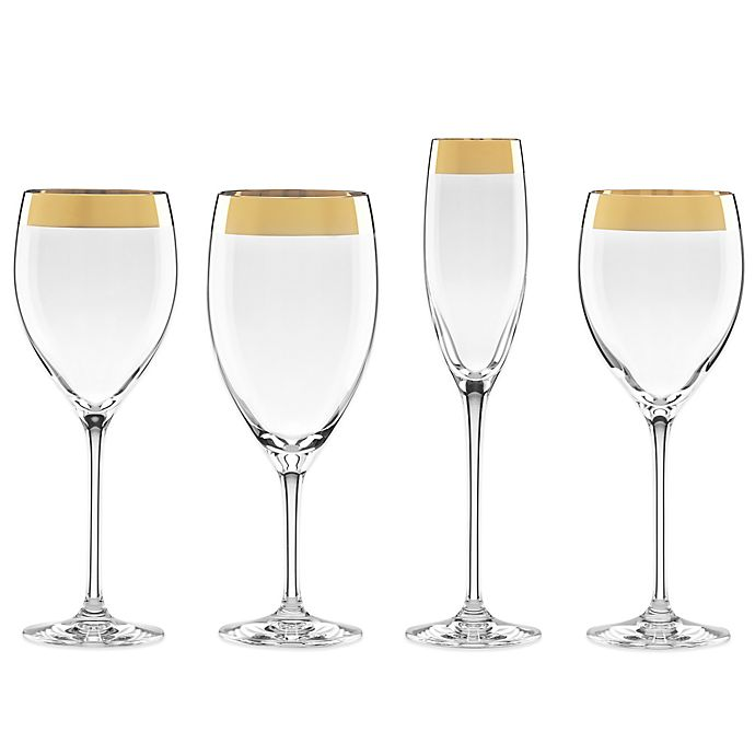 Alternate image 1 for Lenox® Timeless Wide Gold Wine Glass Collection