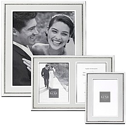 Reed & Barton Luxe Collection Facets Picture Frame in White/Silver