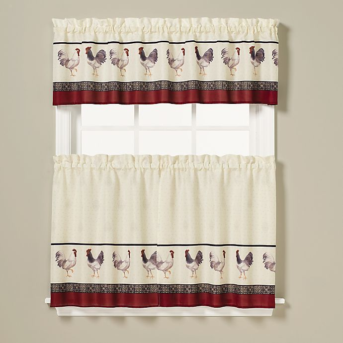 Rooster Print Window Curtain Tier Pair Bed Bath Beyond