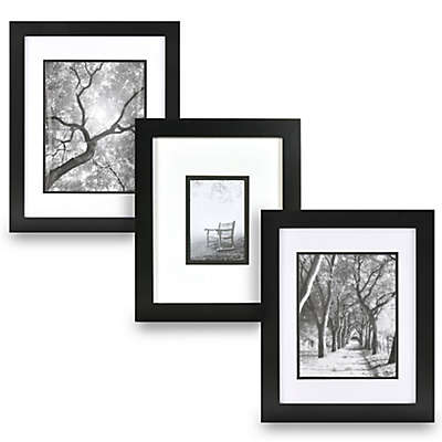 Real Simple® Black Wood Wall Frame with White Over Black Mat