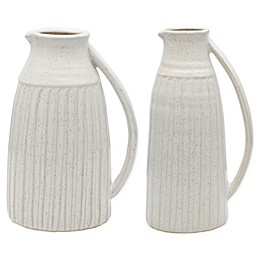 Bee & Willow™ Home Ceramic Pitcher Vase in White