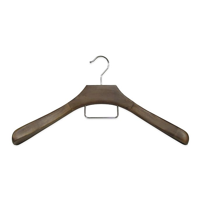 Alternate image 1 for Refined Closet™ 18-Inch Coat Hanger with Accessory Bar in Walnut