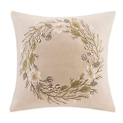 Wreath Embroidered Square Throw Pillow
