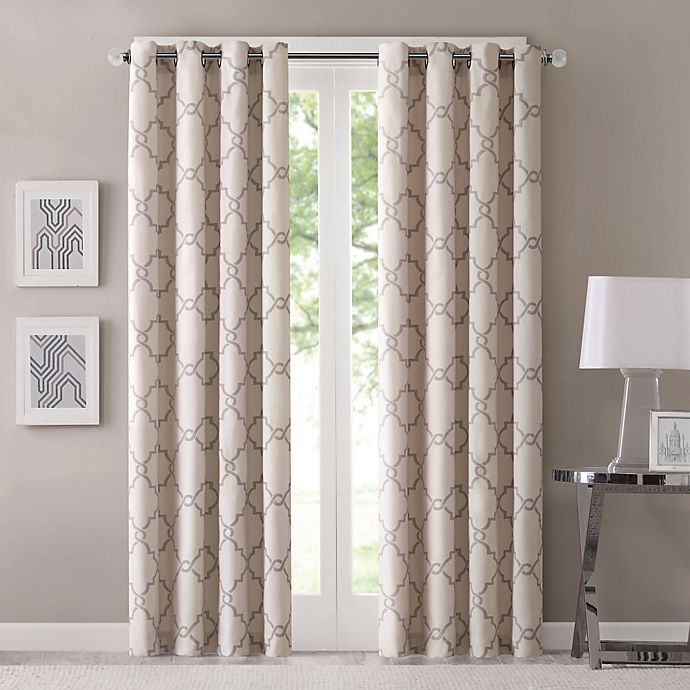 Alternate image 1 for Fretwork 63-Inch Window Curtain Panel in Beige