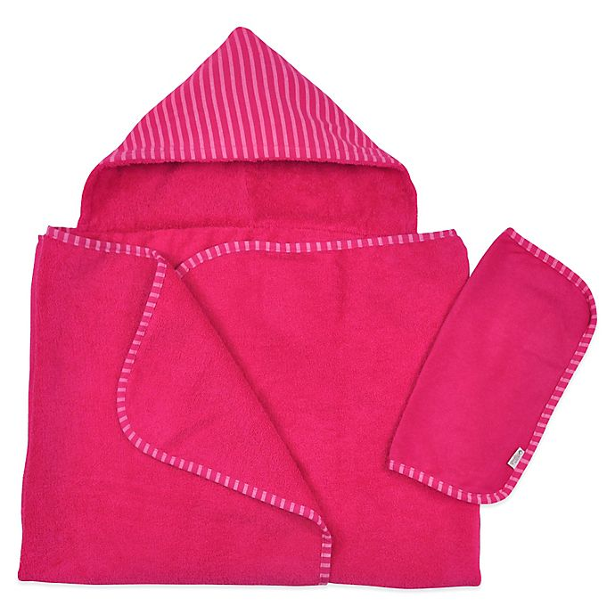 Alternate image 1 for i play® Brights Organic Hooded Towel and Washcloth Set in Fuchsia (2 Piece Set)