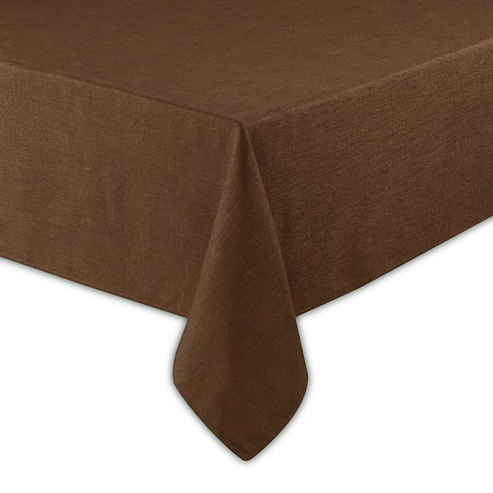 Alternate image 1 for Basketweave 60-Inch x 102-Inch Oblong Tablecloth in Bark