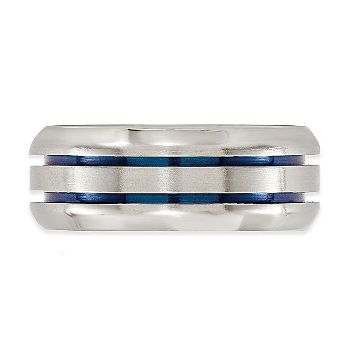 Alternate image 1 for Edward Mirell Titanium and Blue Beveled Grooves Size 11.5 Men's Band
