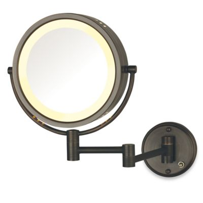 Jerdon 8x 1x Lighted Direct Wire Wall Mount Mirror Bed