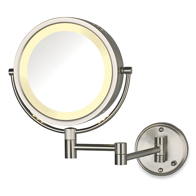 Alternate image 1 for Jerdon 8X/1X Lighted Direct Wire Wall Mount Mirror in Nickel