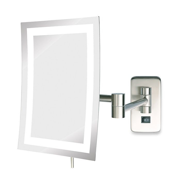 Alternate image 1 for Jerdon 5X LED Rectangular Direct Wire Wall Mount Mirror