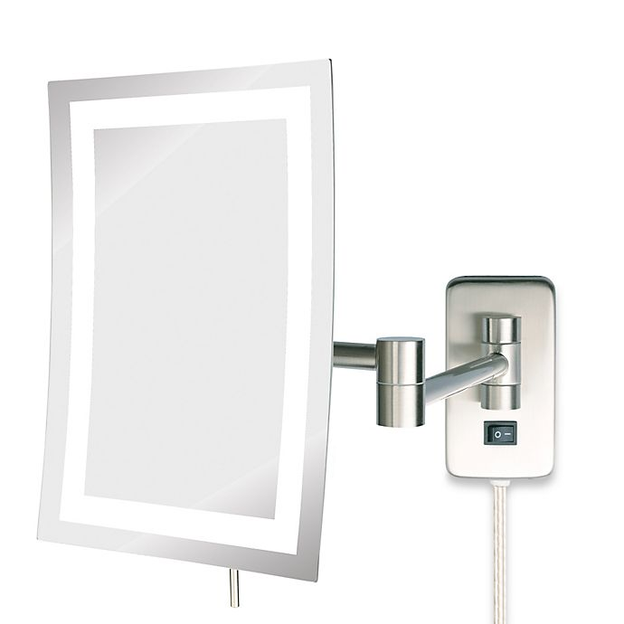 Alternate image 1 for Jerdon 5X LED Rectangular Wall Mount Mirror in Nickel