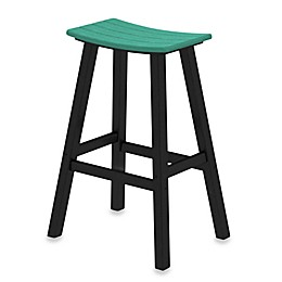 POLYWOOD® Contempo 30-Inch Saddle Bar Stool w/ Black Frame