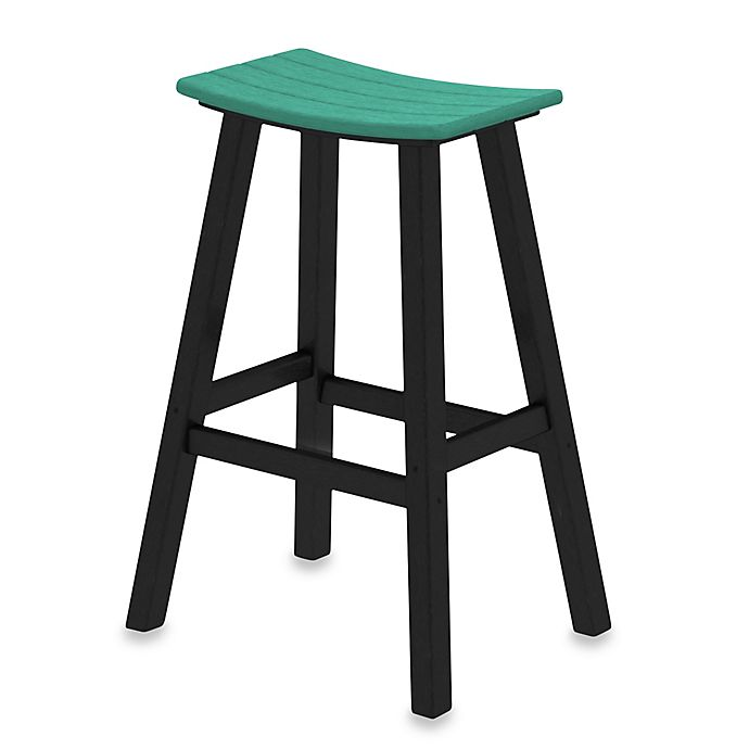 Alternate image 1 for POLYWOOD® Contempo 30-Inch Saddle Bar Stool w/ Black Frame