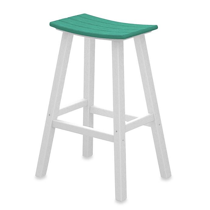 Surprising Polywood Contempo 30 Inch Saddle Bar Stool W White Frame Andrewgaddart Wooden Chair Designs For Living Room Andrewgaddartcom