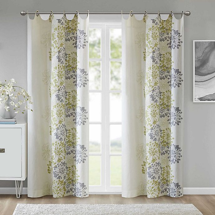 Alternate image 1 for Anya 84-Inch Grommet Window Curtain Panel in Green/White