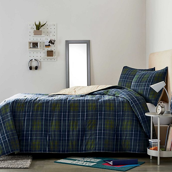 Alternate image 1 for Wamsutta® Collective Boulder 2-Piece Plaid Twin/Twin XL Comforter Set in Olive/Navy