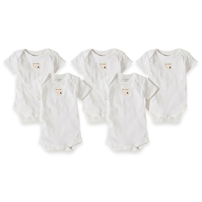 Alternate image 1 for Burt's Bees Baby® 5-Pack Organic Cotton Short Sleeve Bodysuit in Cloud