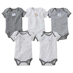 Burt's Bees Baby® 5-Pack Organic Cotton Short Sleeve Bodysuit in Mixed Grey