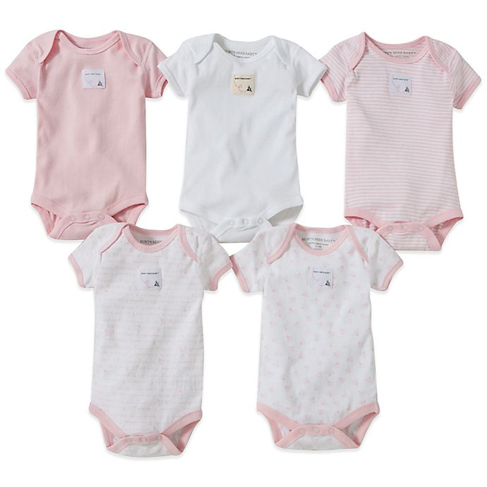 Alternate image 1 for Burt's Bees Baby® Size 12M 5-Pack Organic Cotton Short-Sleeve Mixed Bodysuits in Blossom