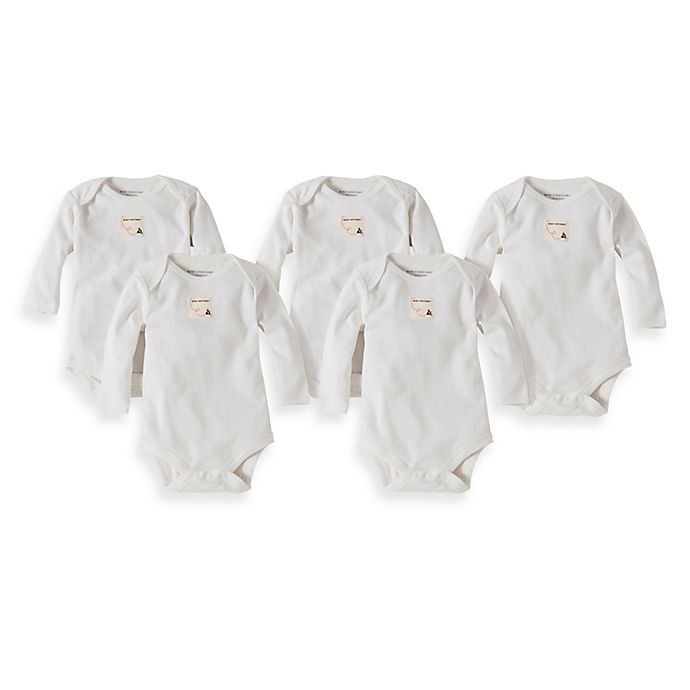 Alternate image 1 for Burt's Bees Baby® 5-Pack Organic Cotton Long Sleeve Bodysuit in Cloud