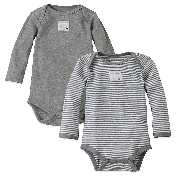 Alternate image 1 for Burt's Bees Baby® 2-Pack Organic Cotton Long-Sleeve Bodysuit in Heather Grey