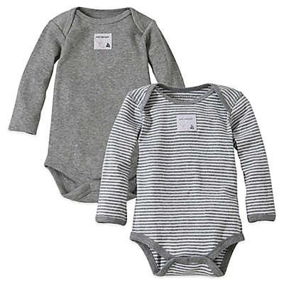 Burt's Bees Baby® 2-Pack Organic Cotton Long-Sleeve Bodysuit in Heather Grey