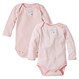 Burt's Bees Baby® 2-Pack Organic Cotton Long Sleeve Bodysuits in Stripe/Solid Pink