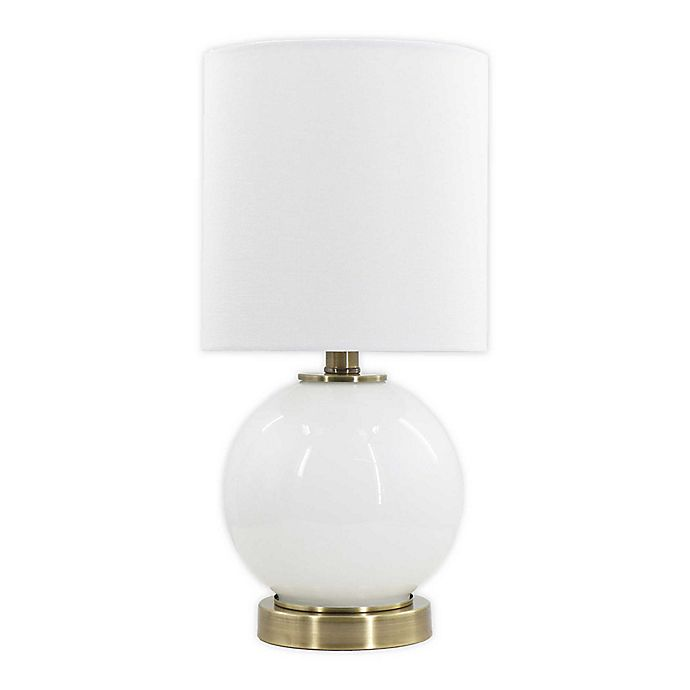 Alternate image 1 for Designs Direct Glass Lamp with Metal Base and White Linen Shade