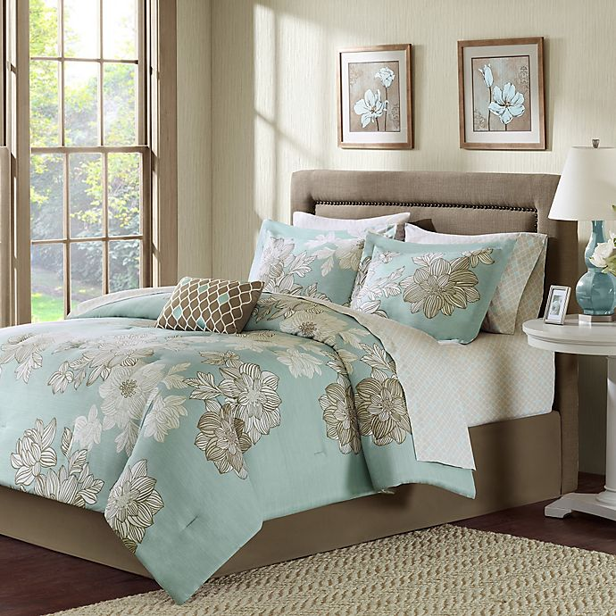 Alternate image 1 for Madison Park Avalon 7-Piece Twin Comforter Set in Blue