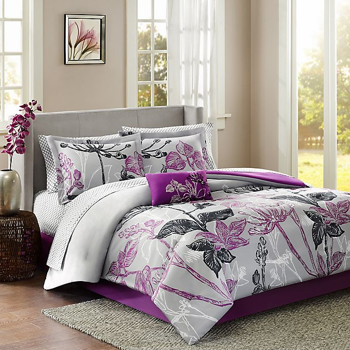 Alternate image 1 for Madison Park Claremont 7-Piece Reversible Twin Comforter Set in Purple
