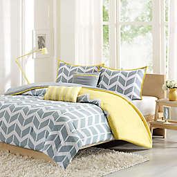 Nadia Reversible Duvet Cover Set in Yellow