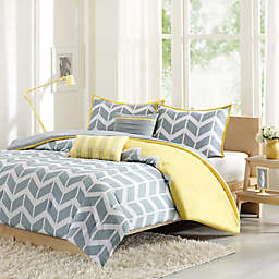 Nadia Reversible Duvet Cover Set in Yellow
