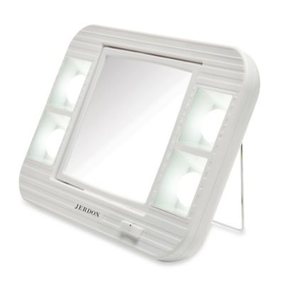 Jerdon 5x 1x Led Lighted Makeup Mirror In White Bed Bath