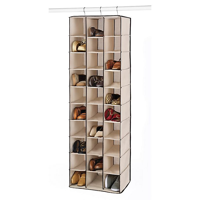 Alternate image 1 for Whitmor 30 Section Hanging Shoe Shelves in Beige