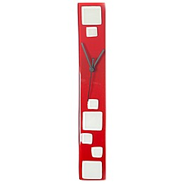 Veritas Handmade Blocks Glass Wall Clock in Red/White