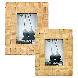 Mud Pie® Woven Rattan Picture Frame in Brown