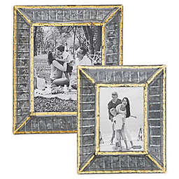 Mud Pie® Ribbed Tin Picture Frame in Silver