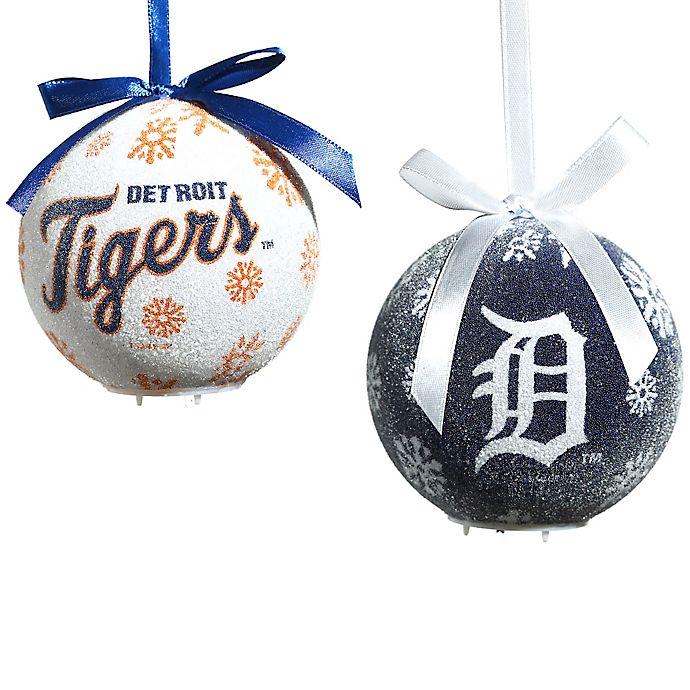 MLB Detroit Tigers LED Lighted Christmas Ornament Set (Set ...