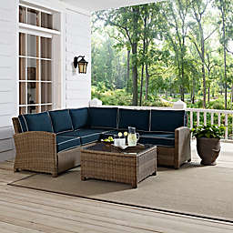 Crosley Bradenton 4-Piece Wicker Sectional Set
