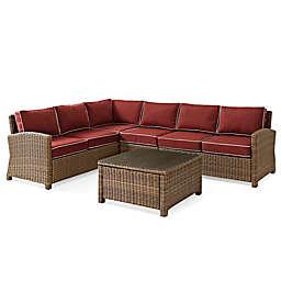 Crosley Bradenton 5-Piece Wicker Seating Set in Sangria