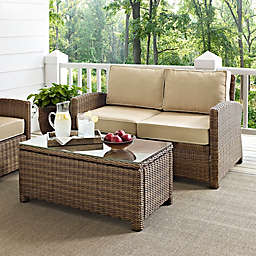 Crosley Bradenton 2-Piece Wicker Loveseat Set