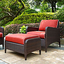 Crosley Kiawah 2-Piece Wicker Arm Chair and Ottoman Set