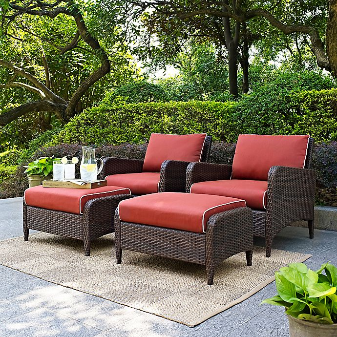 Alternate image 1 for Crosley Kiawah 4-Piece Wicker Arm Chair and Ottoman Set