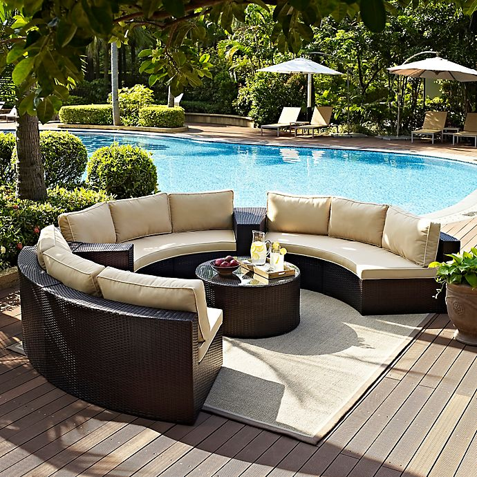 Alternate image 1 for Crosley Catalina 6-Piece Wicker Seating Set in Sand
